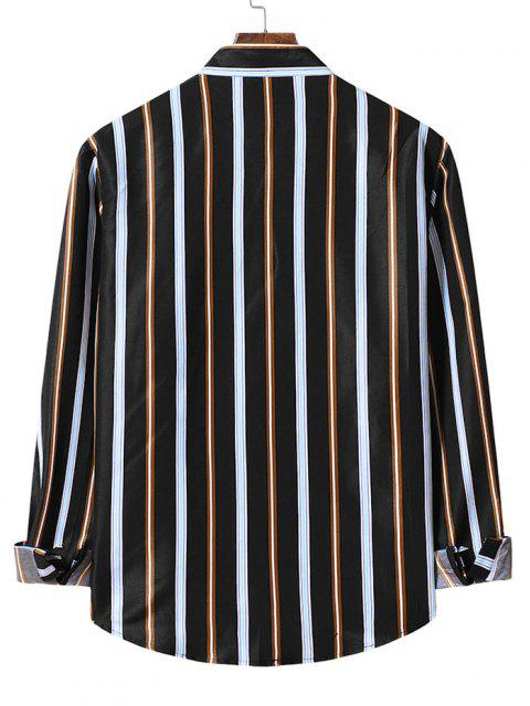 ストライプ配色カーブシャツ - ブラック 2XL Mobile