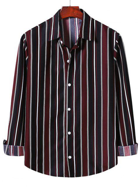 womens Stripe Button Up Shirt - RED WINE XL Mobile