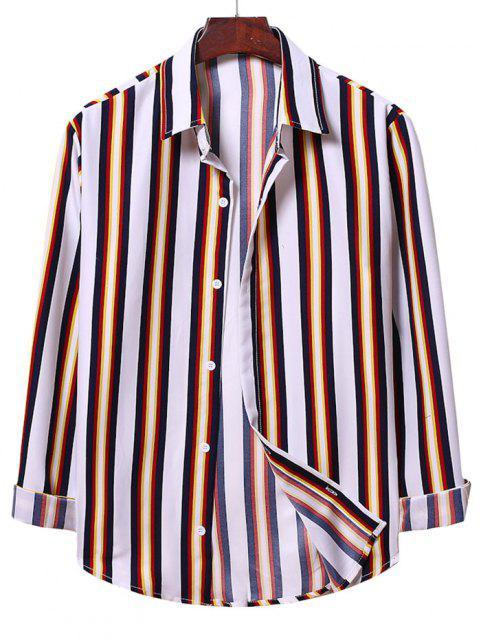 Camisa a Rayas Verticales con Botones - Blanco S Mobile