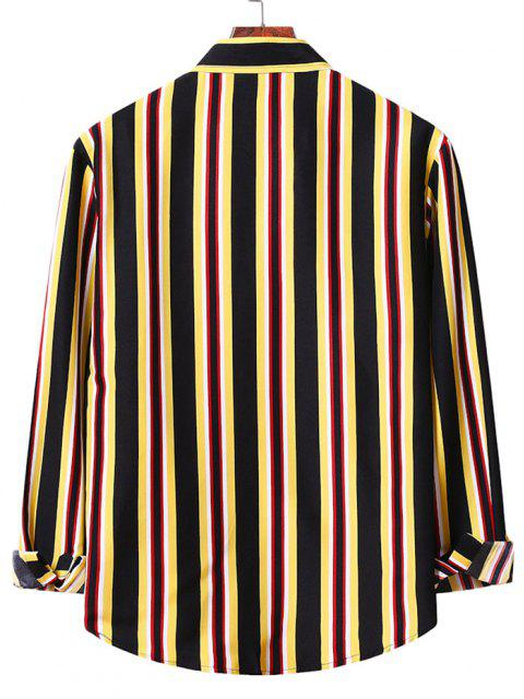 Camisa a Rayas Verticales con Botones - Amarillo S Mobile