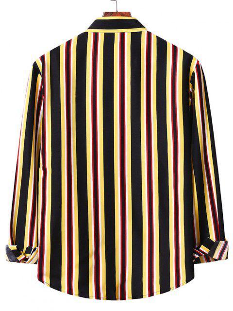 Camisa a Rayas Verticales con Botones - Amarillo L Mobile