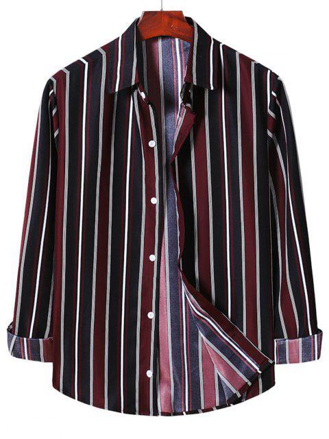 ストライプボタン付きシャツ - 赤ワイン 2XL Mobile