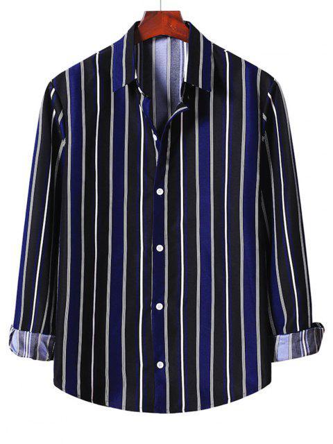 latest Stripe Button Up Shirt - DENIM DARK BLUE 2XL Mobile