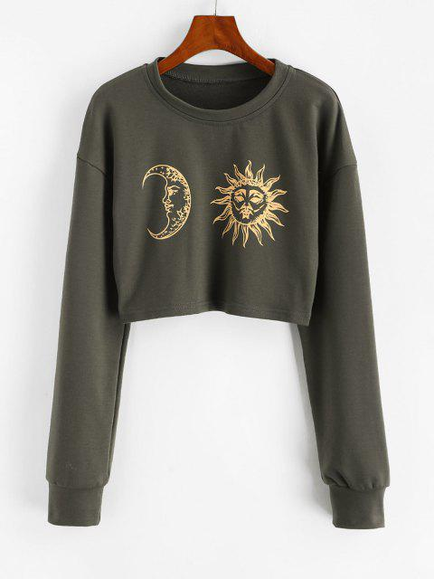 best Sun Moon Print Cropped Sweatshirt - GRAY XL Mobile
