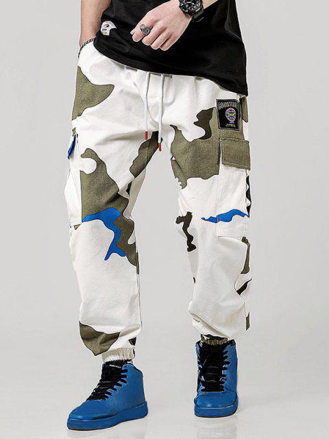 Buchstabe Applikation Camouflagedruck Taschen Cargo Hose - Multi-A L Mobile