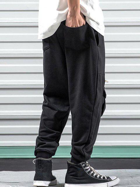 Pantalones Pies de Color Sólido con Bolsillos y Cordones - Negro XS Mobile