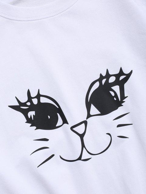 fashion Cute Cat Graphic Lounge Crew Neck Sweatshirt - WHITE M Mobile