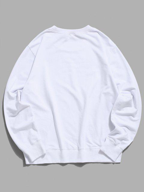 Sweat-shirt LongChatMignonGraphiqueImprimé à Col Rond - Blanc 2XL Mobile