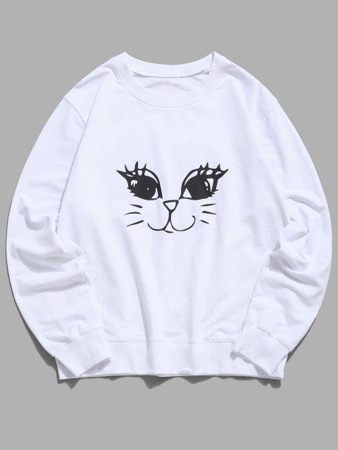 latest Cute Cat Graphic Lounge Crew Neck Sweatshirt - WHITE S Mobile