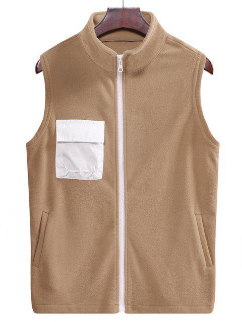 Vlies Reißverschluss Tasche Weste - Braunes Kamel  M Mobile