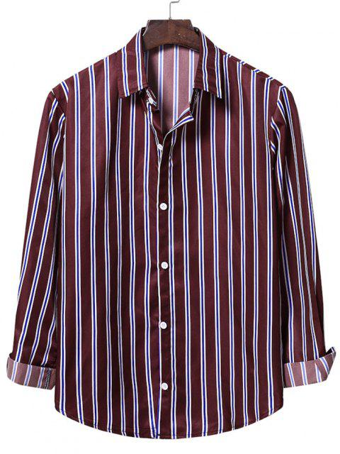 unique Casual Vertical Stripes Button Up Shirt - RED WINE 2XL Mobile