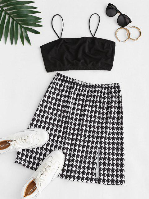 unique ZAFUL Cropped Slit Houndstooth Two Piece Dress - BLACK L Mobile