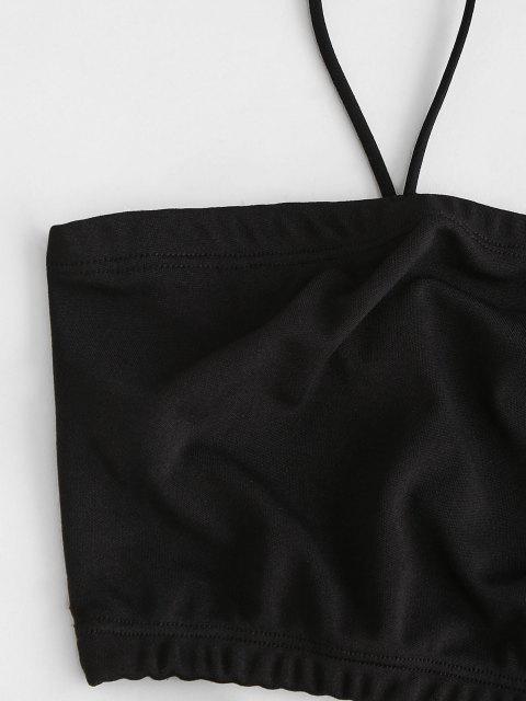 ZAFUL Vestido de Dos Piezas Recortado en Pata de Gallo - Negro L Mobile