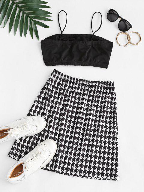 lady ZAFUL Cropped Slit Houndstooth Two Piece Dress - BLACK S Mobile