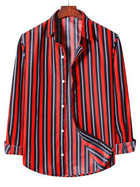 latest Stripes Button Up Casual Shirt - LAVA RED L Mobile
