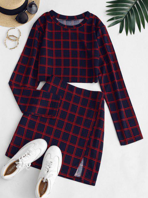 affordable Plaid Slit Long Sleeve Skirt Set - DEEP RED S Mobile