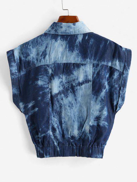 Chaleco Teñido Anudado con Puños de Bolsillo - Azul Profundo M Mobile