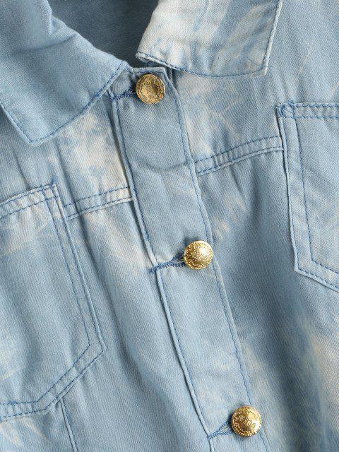 women Tie Dye Chambray Pocket Cuffed Vest - LIGHT BLUE S Mobile