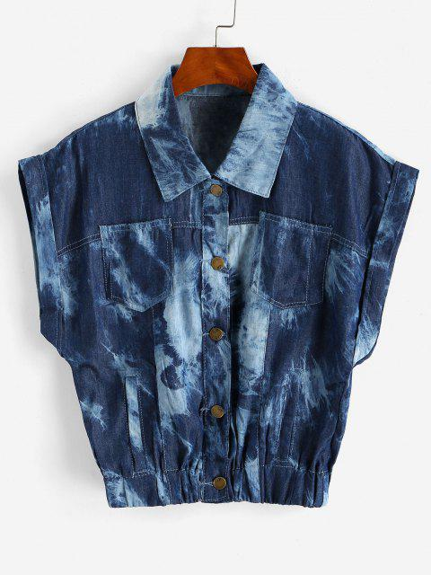 affordable Tie Dye Chambray Pocket Cuffed Vest - DEEP BLUE L Mobile