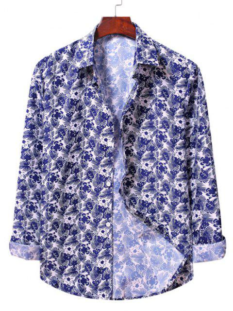 buy Casual Floral Print Shirt - WHITE M Mobile