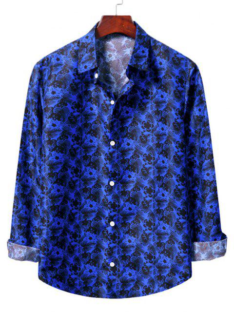 lady Casual Floral Print Shirt - COBALT BLUE L Mobile