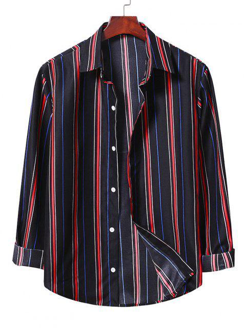 Camisa Rayada Abotonada - Negro M Mobile