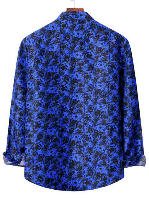 womens Casual Floral Print Shirt - COBALT BLUE S Mobile