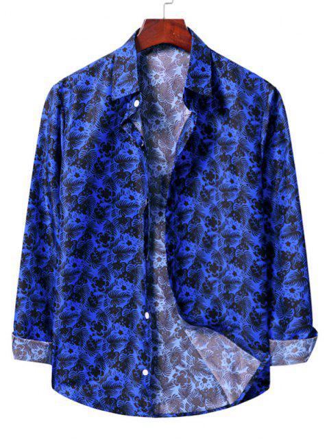 lady Casual Floral Print Shirt - COBALT BLUE M Mobile