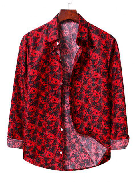 best Casual Floral Print Shirt - LAVA RED XL Mobile