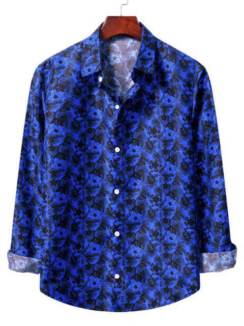 shops Casual Floral Print Shirt - COBALT BLUE 2XL Mobile