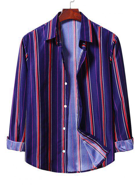 chic Casual Button Up Striped Shirt - DENIM DARK BLUE 2XL Mobile