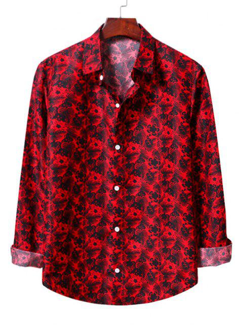 lady Casual Floral Print Shirt - LAVA RED L Mobile