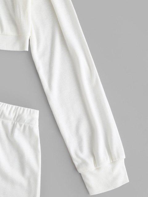 Schulterfrei Tunnelzug Zweiteilige Shorts Set - Weiß L Mobile