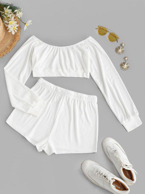 womens Off Shoulder Drawstring Two Piece Shorts Set - WHITE M Mobile