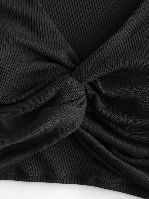 ZAFUL Geripptes Bikinis Top mit V Ausschnitt - Schwarz M Mobile
