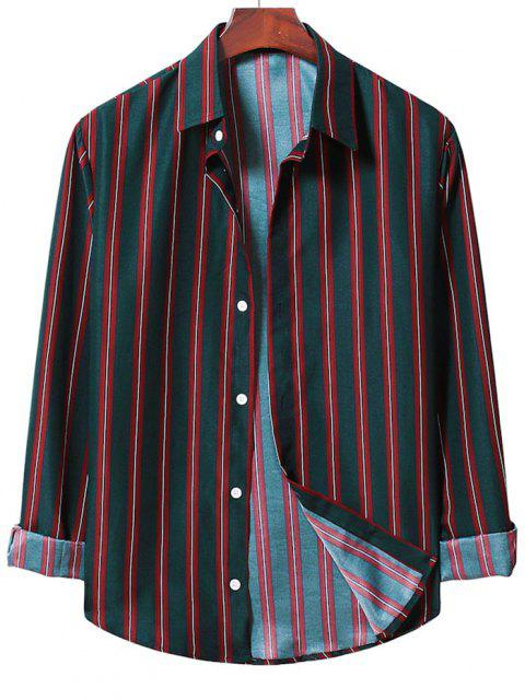 outfits Long Sleeve Stripes Button Up Shirt - LAVA RED S Mobile