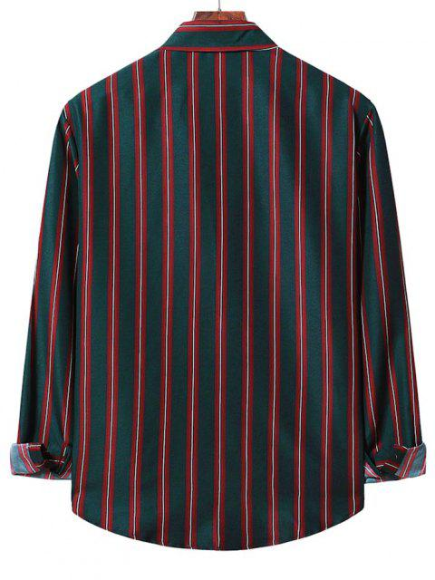 Chemise Rayée Boutonnée à Manches Longues - Rouge Lave 2XL Mobile