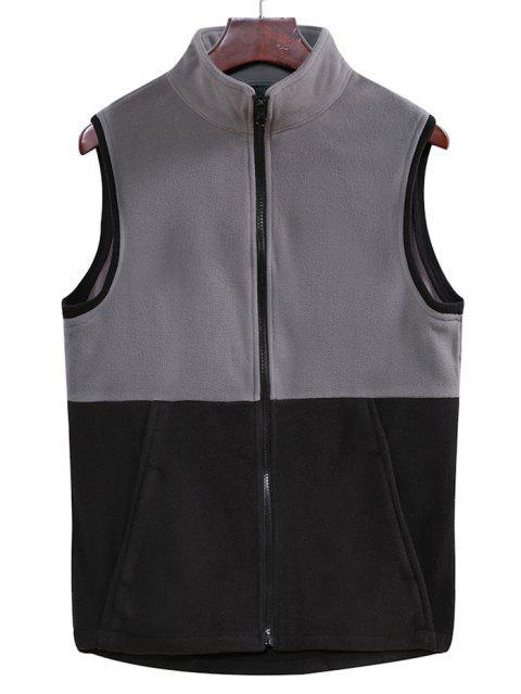 new Colorblock Zipper Fleece Vest - CARBON GRAY XL Mobile