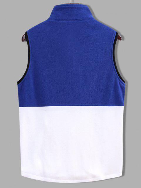 Gilet Zippé en Blocs de Couleurs en Laine - Bleu Foncé Toile de Jean 2XL Mobile