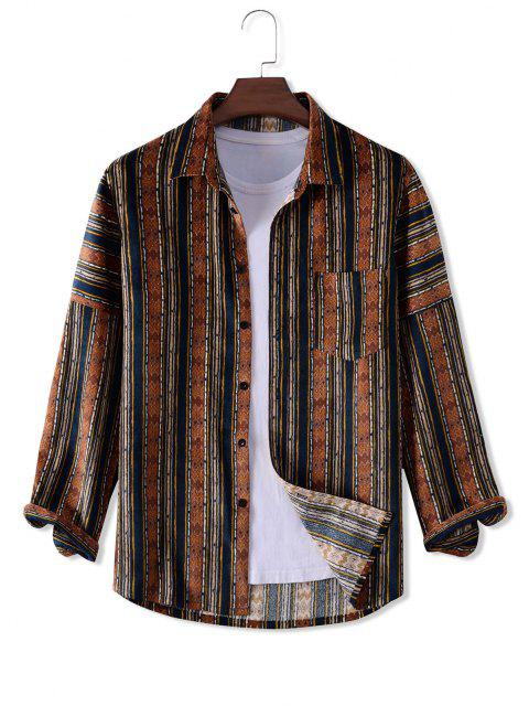 buy Geometry Pattern Long Sleeve Corduroy Shirt - MULTI XL Mobile