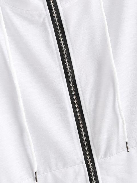 fancy Kangaroo Pocket Stitching Detail Zip Up Hoodie - WHITE M Mobile