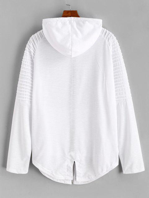 sale Kangaroo Pocket Stitching Detail Zip Up Hoodie - WHITE L Mobile