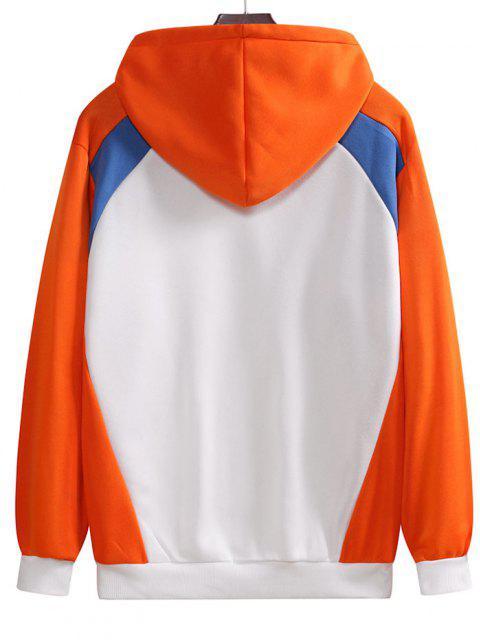 fancy Colorblock Drawstring Fleece Lining Hoodie - PAPAYA ORANGE L Mobile