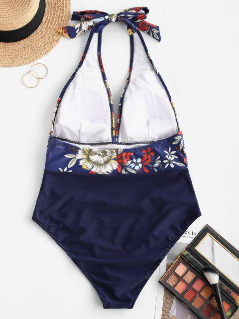 chic ZAFUL Flower Ruched Backless One-piece Swimsuit - DEEP BLUE S Mobile