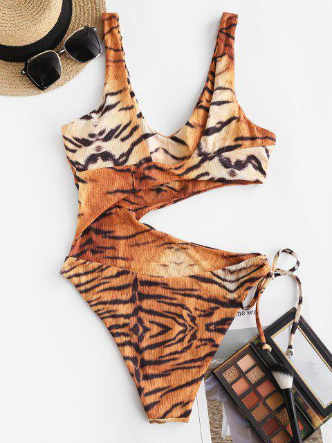 shop ZAFUL Cutout Ribbed Tiger Print One-piece Swimsuit - MULTI XL Mobile