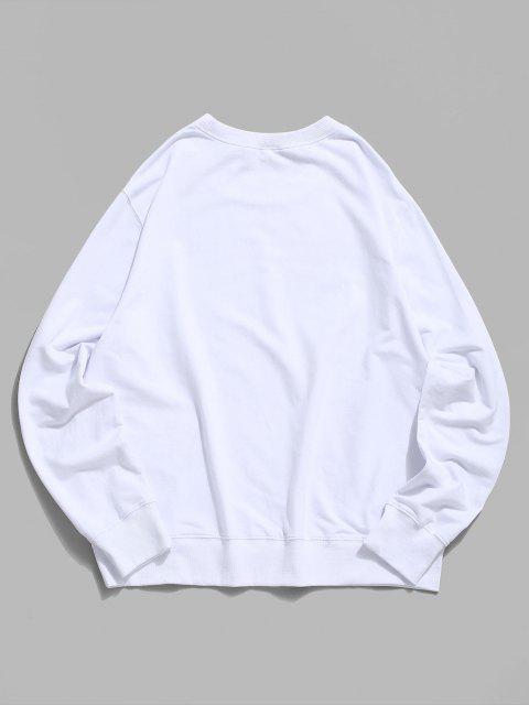 sale Halloween Funny Face Lounge Crew Neck Sweatshirt - WHITE M Mobile