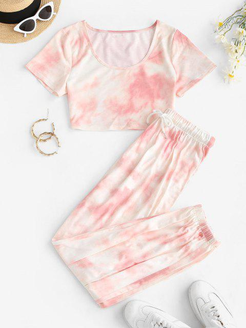 ladies Tie Dye T-shirt and Drawstring Jogger Pants Set - LIGHT PINK M Mobile