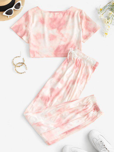 womens Tie Dye T-shirt and Drawstring Jogger Pants Set - LIGHT PINK L Mobile