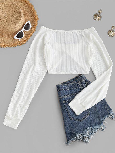 Camiseta Rugosa Enlaçada com Corte Crochê Cortado - Branco XL Mobile