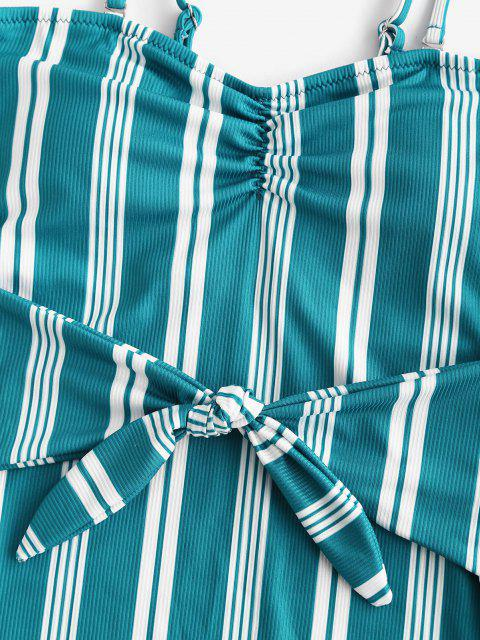 ZAFUL Bañador en Una Pieza de Tie-dye con Rayas - Verde Oscuro S Mobile